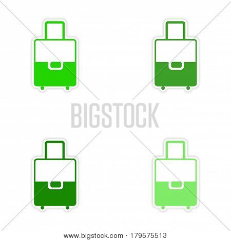 assembly realistic sticker design on paper valise