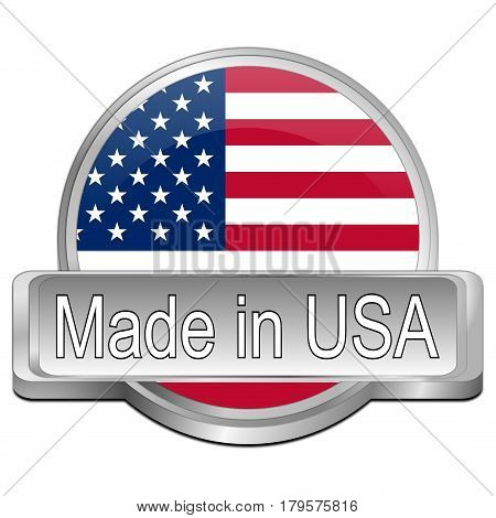 silver Made in USA button - 3D illustration