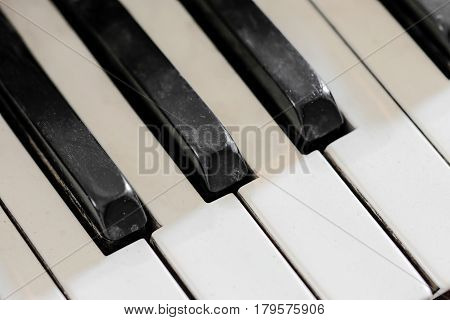 Detail of old broken and dusty organ keys