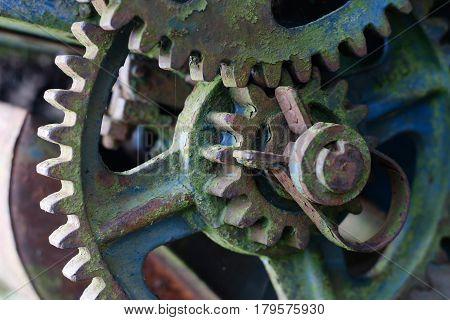 Detail of the old broken mechanism - gears