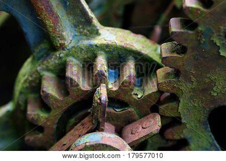 Detail of old and broken mechanism - gears