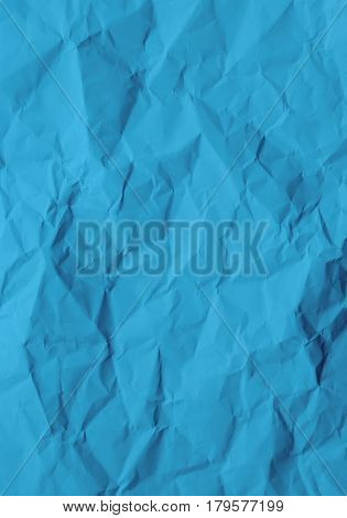Blank blue paper crinkled texture for background