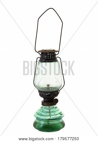 Old and rusty strom lantern isolated on white background and clipping path