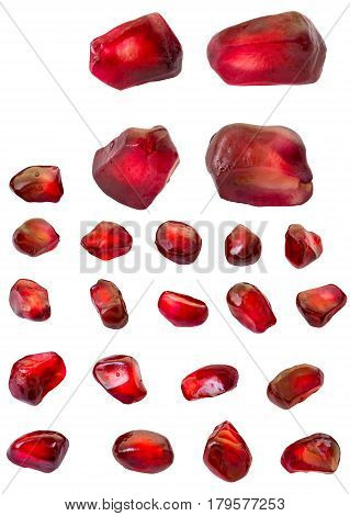 Red Pomegranate seeds isolated on white background