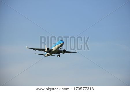 Amsterdam the Netherlands - May 6th 2016: PH-EZM KLM Cityhopper Embraer ERJ-190STD approaching Schiphol Zwanenburg runway arriving from Frankfurt Germany