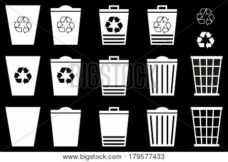 Waste bins - set, Vector Set Recycle Bins for Trash and Garbage, trash icon