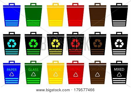 Waste bins - set, Vector Set Recycle Bins for Trash and Garbage, waste separation,