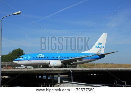 Amsterdam the Netherlands - June 9th 2016: PH-BGL KLM Royal Dutch Airlines Boeing 737 taxiing to Polderbaan runway Schiphol destination Hamburg Germany