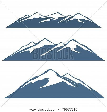 A set of mountain ranges. Snowy mountain tops.
