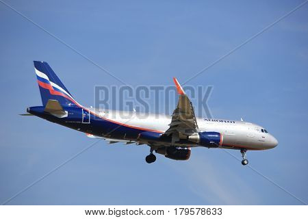 Amsterdam the Netherlands - July 21st 2016:VP-BJY Aeroflot - Russian Airlines Airbus A320 approaching Polderbaan runway at Schiphol Amsterdam Airport arriving from Moscow Russia