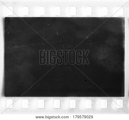 Detail of the real film frame with dust and scratches