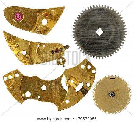 Parts of clockwork mechanism isolated on white background