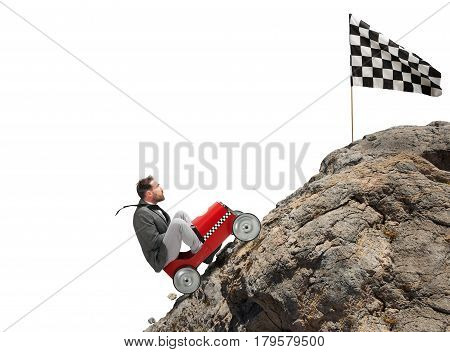 Businessman climb a mountain with a small car to get to the flag. Achievement business goal and Difficult career concept