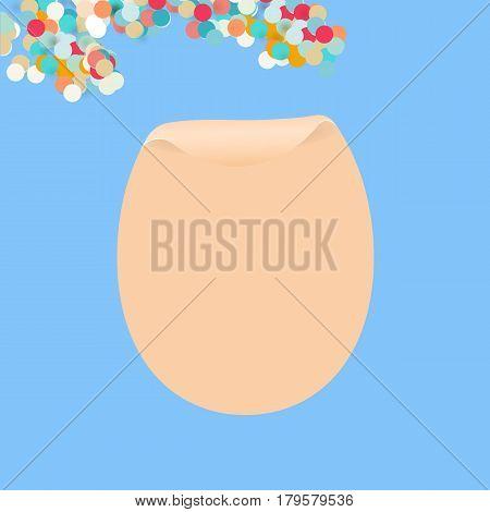Egg shaped bended paper in pastel tones. Vector illustration for design