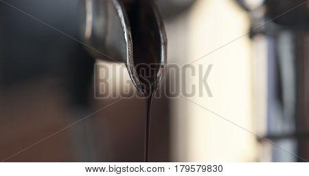 preparing espresso with professional coffee machine closeup shot, 4k photo