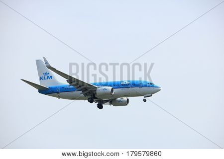 Amsterdam the Netherlands - March 31st 2017: PH-BGL KLM Royal Dutch Airlines Boeing 737-800 approaching Polderbaan runway at Schiphol Amsterdam Airport the Netherlands