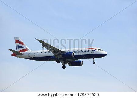 Amsterdam the Netherlands - March 31st 2017: G-EUUN British Airways Airbus A320-200 approaching Polderbaan runway at Schiphol Amsterdam Airport the Netherlands