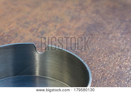 Metal Aluminium Ash Tray On Copper Table Top Texture Background Smoking Clean New Bright