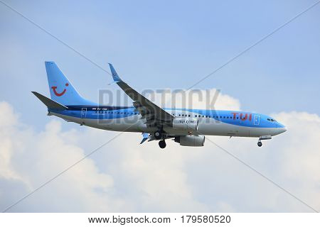 Amsterdam the Netherlands - March 31st 2017: PH-TFB TUI Airlines Netherlands Boeing 737-800 approaching Polderbaan runway at Schiphol Amsterdam Airport the Netherlands