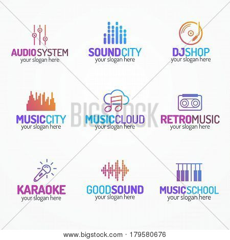 Music logo set with different icons modern color style isolated on white background for use sound company, audio system shop, music store, equipment market, dj etc. Vector Illustration