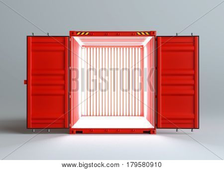 Open red cargo container with light inside. Gray background. 3D rendering