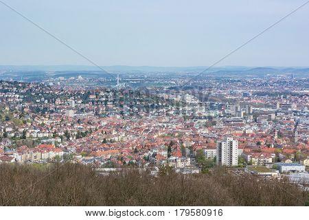 Stuttgart Kessel Landscape Blue Sky Foggy Beautiful Day Orange European Roof Mountains Baden Wuertte