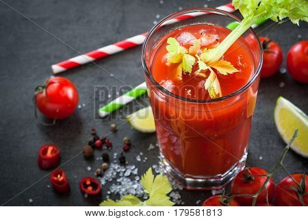 Bloody Mary cocktail. Alcoholic drink and ingredients at dark slate table. Close up