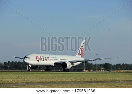 Amsterdam the Netherlands - August 18th 2016: A7-BAY Qatar Airways Boeing 777 taking off from Polderbaan Runway Amsterdam Airport Schiphol