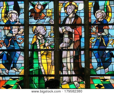 Stained Glass - Jesus Christ And Saint Peter