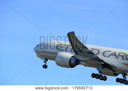 Amsterdam the Netherlands - March 25th 2017: A6-DDA Etihad Airways Boeing 777F takeoff from Polderbaan runway.