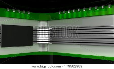 Tv Studio. Green Studio. Backdrop For Tv Shows .tv On Wall. News Studio. The Perfect Backdrop For An