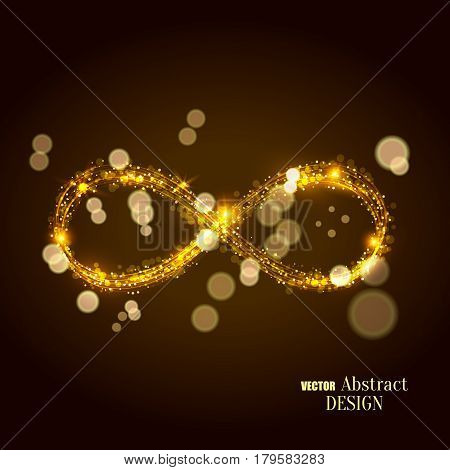 The shining infinity symbol. Abstract background of an infinity sign. Dynamic scintillating lines. Design element. Vector illustration.