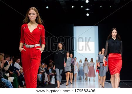 MOSCOW RUSSIA - MARCH 21 2017: Model walk runway for FABERLIC by VALENTIN YUDASHKIN catwalk at Autumn-Winter 2017-2018 Moscow Fashion Week.