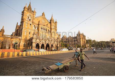Mumbai, India - 9 November: Chhatrapati Shivaji Terminus railway station on a clear autumn evening