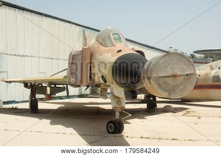 HATZERIM, ISRAEL - APRIL 26, 2016:  supersonic jet interceptor aircraft/fighter-bomber display in the Israeli Air Force Museum
