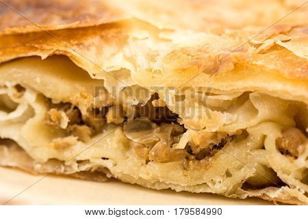 Traditional Burek Pie With Meat Isolated Over White Background