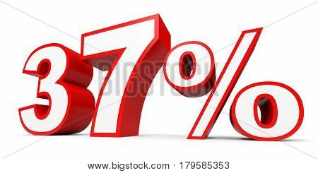 Thirty seven percent off. Discount 37 %. 3D illustration on white background. poster