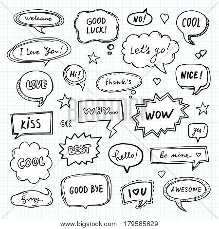 Hand drawn set of speech bubbles with dialog words