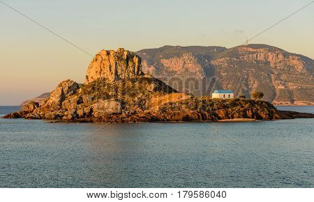 Little island Kastri near Kos island in the soft morning light, Kos island, Dodecanese, Greece