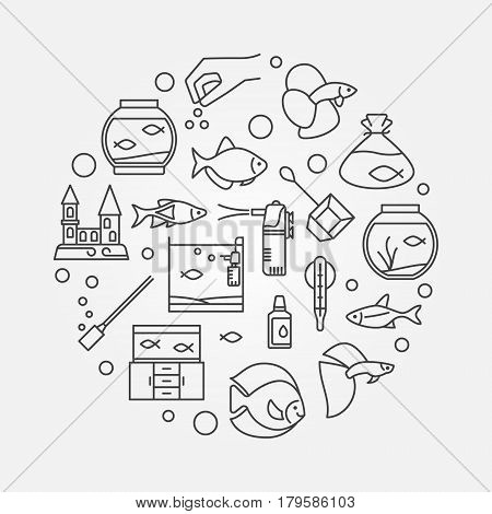 Aquarium outline illustration. Vector circular sign made with icons of different types of aquariums, fish and accessories