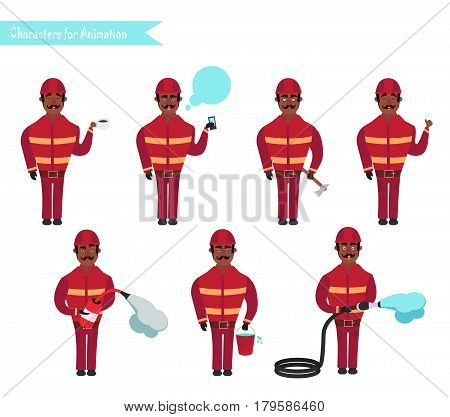 Set for animation of African American firefighters in uniform protective suit with axe cartoon vector illustration isolated on white background. Young firefighter fireman set.
