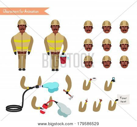 Set for animation of African American firefighter in uniform protective suit with axe cartoon vector illustration isolated on white background. Young firefighter fireman set.