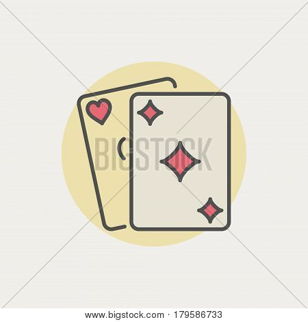 Colorful playing cards icon. Vector two cards creative symbol