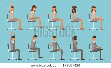 Vector Illustration With Office Chair Yoga. Businessman And Woman Doing Workout And Stretching. Peop