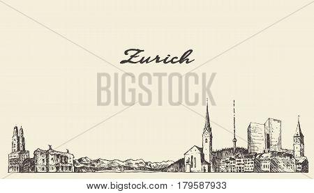 Zurich landscape, Switzerland, hand drawn vector illustration sketch