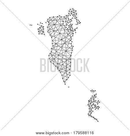 Map of Bahrain from polygonal black lines and dots of vector illustration