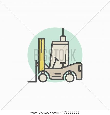 Colorful forklift icon - vector creative symbol or logo element