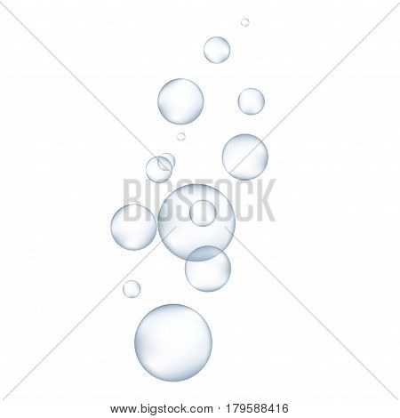White water bubbles with reflection set vector illustration. Air drop glossy realistic bubbles liquid transparent design. Soap abstract bubbles sphere reflection water.