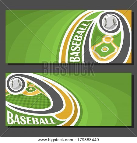 Vector banners for Baseball game: baseball ball flying on curve above baseball diamond sports field, 2 tickets to sporting tournament with empty field for title text on green art abstract background.