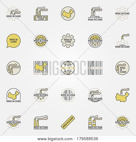 Made in China colorful icons. Vector collection of symbols for products that created in China